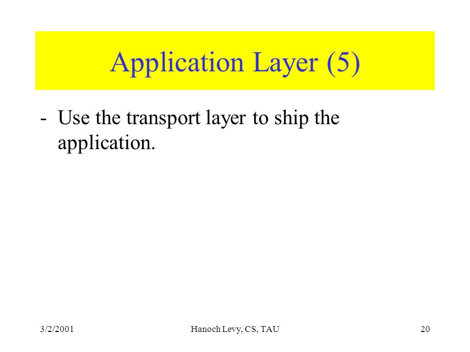 3/2/2001Hanoch Levy, CS, TAU20 Application Layer (5) -Use the transport layer to ship the application.