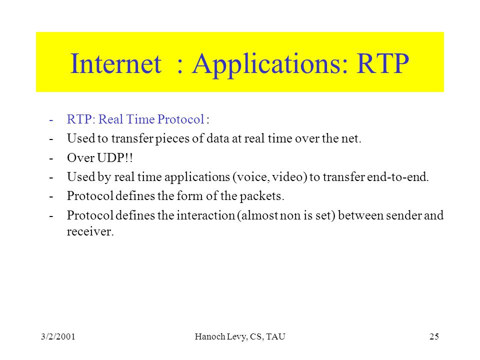 3/2/2001Hanoch Levy, CS, TAU25 Internet : Applications: RTP -RTP: Real Time Protocol : -Used to transfer pieces of data at real time over the net.