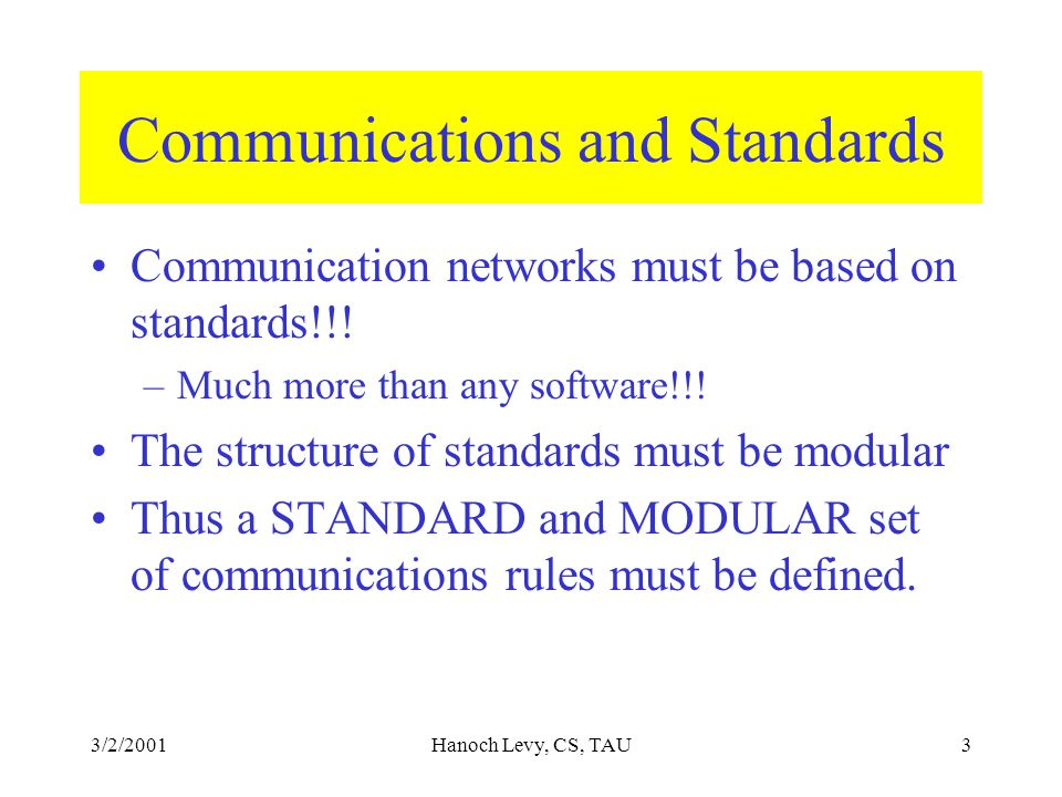 3/2/2001Hanoch Levy, CS, TAU4 The reference Model A standard framework for describing standard approached for delivering data over a network.