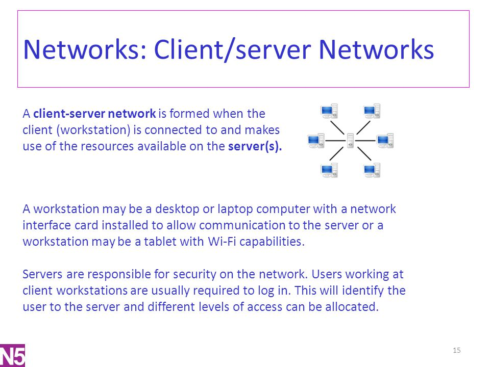 Networks: Client/server Networks A client-server network is formed when the client (workstation) is connected to and makes use of the resources availa