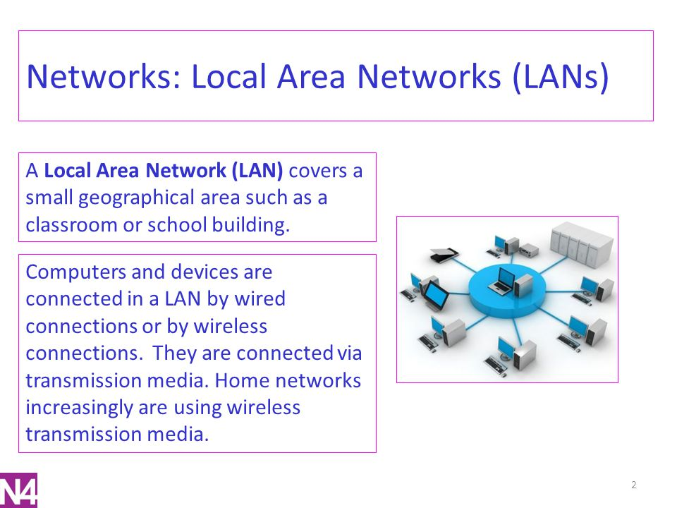Networks: Advantages of a LAN The advantages of having an LAN include: Allow you to share data Allows you to share expensive computer peripherals e.g.