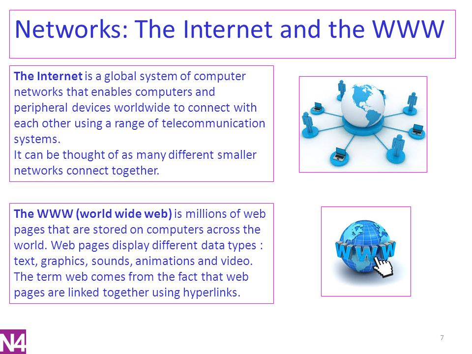 7 Networks: The Internet and the WWW The Internet is a global system of computer networks that enables computers and peripheral devices worldwide to c