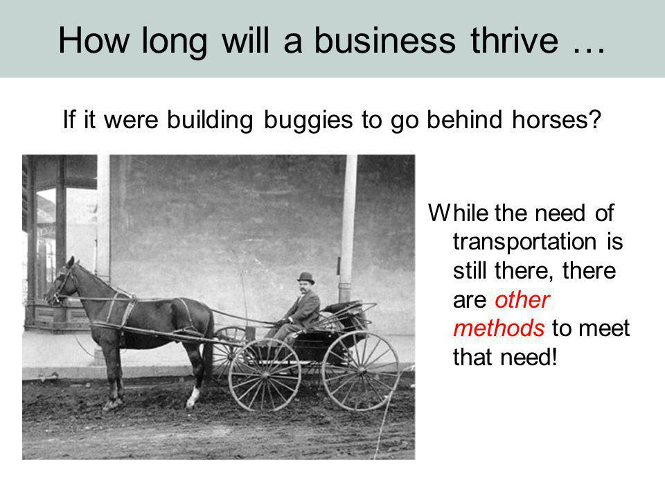 How long will a business thrive … If it were building buggies to go behind horses? While the need of transportation is still there, there are other me