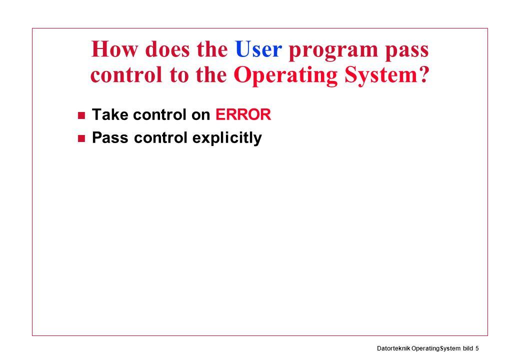 Datorteknik OperatingSystem bild 6 ERROR Ex, Arithmetical Overflow li $4 0x80000000 neg $4 $4 (sub $4 $0 $4) 0x00000000 - 0x80000000 0x80000000 Sign differs Same Sign .