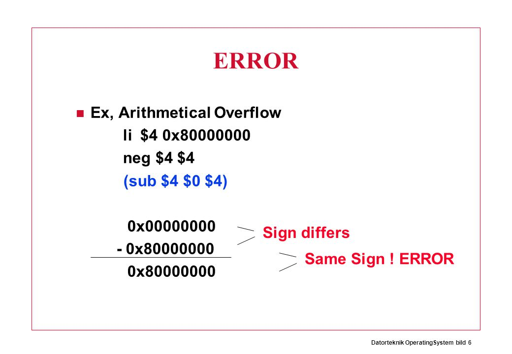 Datorteknik OperatingSystem bild 7 Signed/Unsigned Arithmetics The only difference is that –Unsigned never causes ERROR –Signed causes ERROR on Overflow etc.