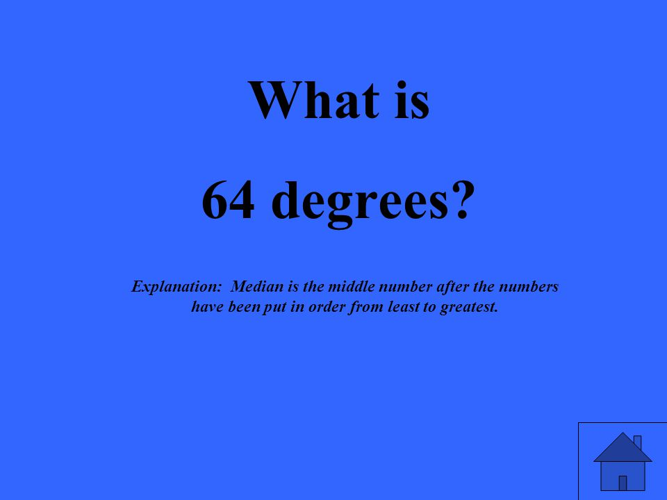 What is 64 degrees? Explanation: Median is the middle number after the numbers have been put in order from least to greatest.