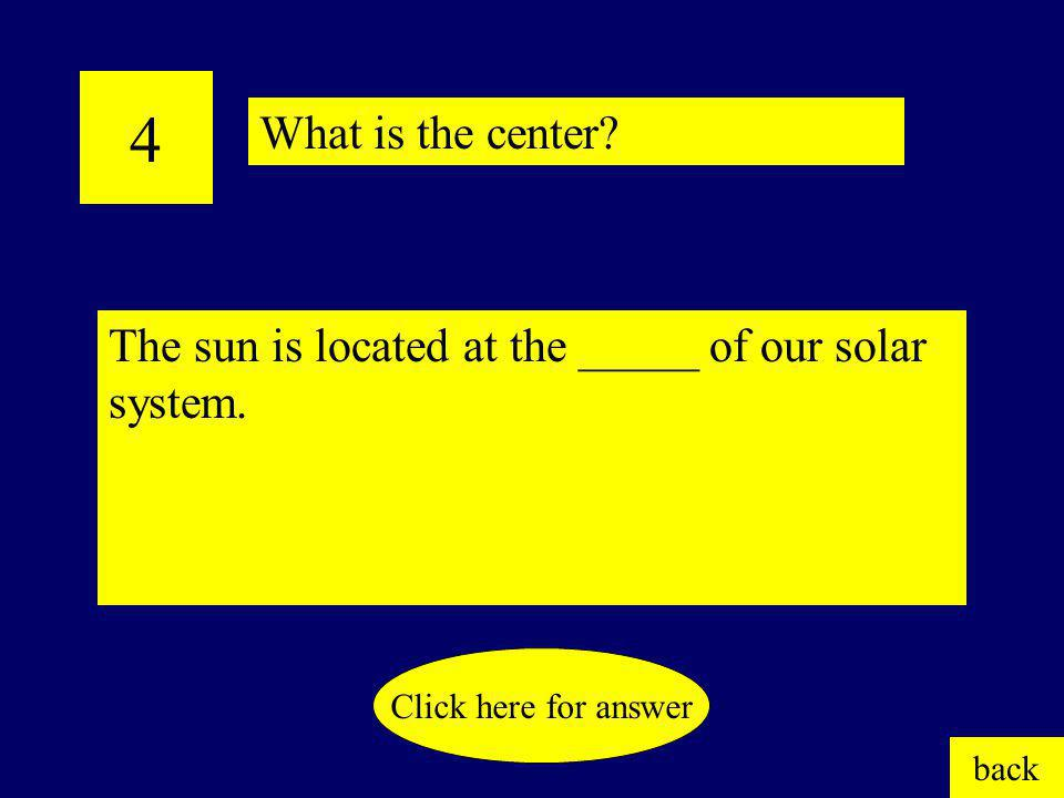 3 The sun is a huge, spinning ball of ____ ____. back Click here for answer What is hot gas?