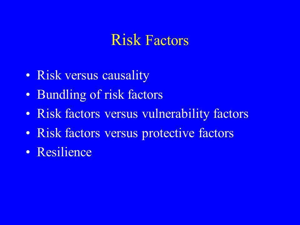 Risk Factors Risk versus causality Bundling of risk factors Risk factors versus vulnerability factors Risk factors versus protective factors Resilience