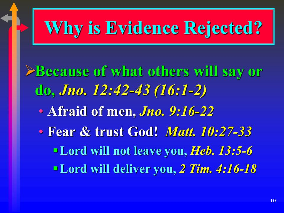 10  Because of what others will say or do, Jno. 12:42-43 (16:1-2) Afraid of men, Jno.