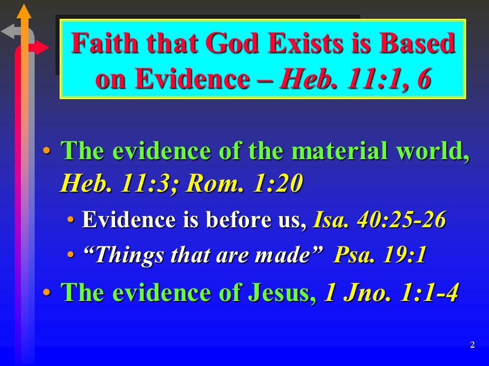 2 Faith that God Exists is Based on Evidence – Heb.