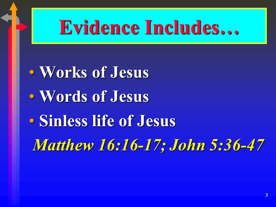 3 Evidence Includes… Works of JesusWorks of Jesus Words of JesusWords of Jesus Sinless life of JesusSinless life of Jesus Matthew 16:16-17; John 5:36-47