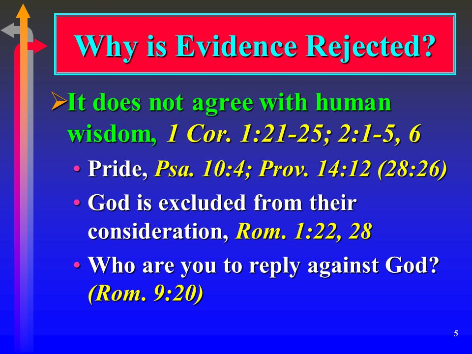 5 Why is Evidence Rejected.  It does not agree with human wisdom, 1 Cor.