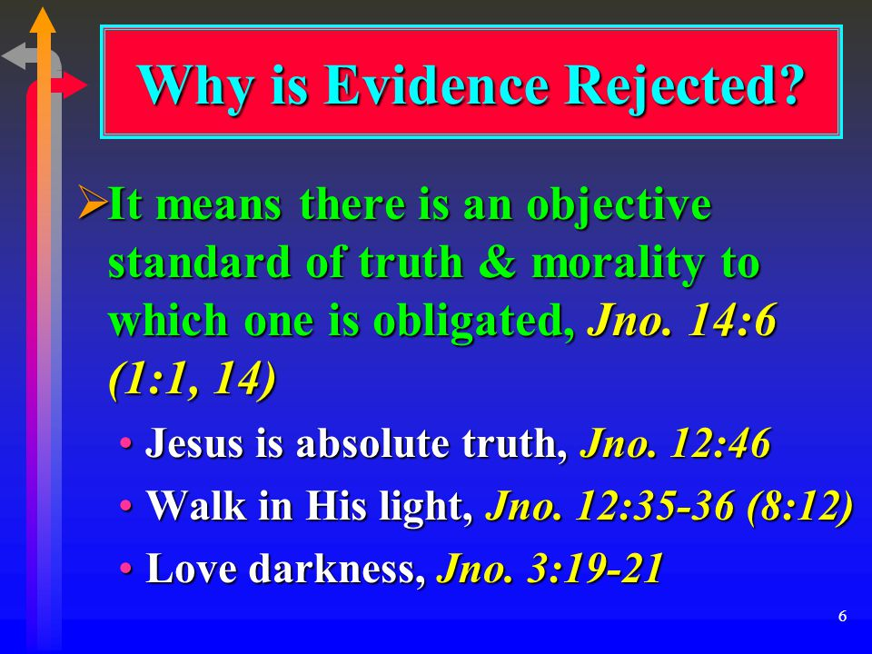 6  It means there is an objective standard of truth & morality to which one is obligated, Jno.