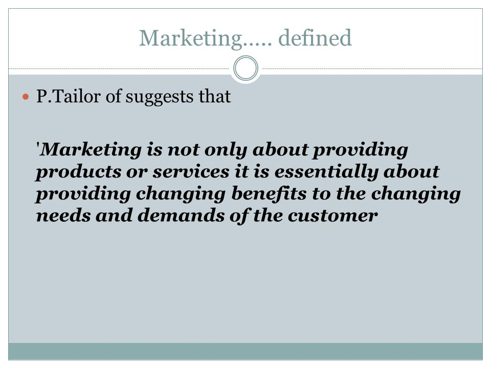 Marketing…..