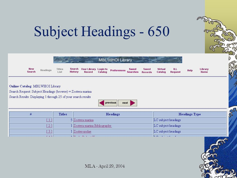 MLA - April 29, 2004 Subject Headings - 650
