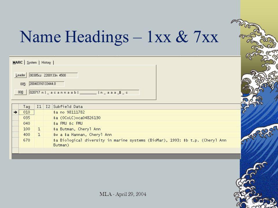 MLA - April 29, 2004 Name Headings – 1xx & 7xx