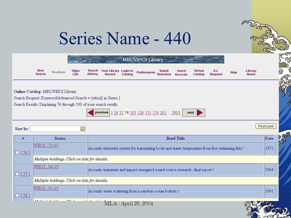 MLA - April 29, 2004 Finding Images