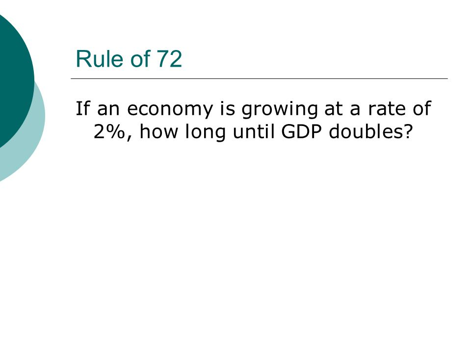 Rule of 72 If an economy is growing at a rate of 2%, how long until GDP doubles