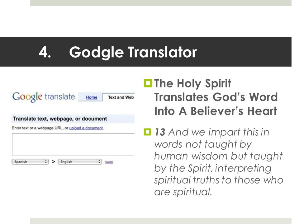 4.Godgle Translator  The Holy Spirit Translates God's Word Into A Believer's Heart  13 And we impart this in words not taught by human wisdom but taught by the Spirit, interpreting spiritual truths to those who are spiritual.