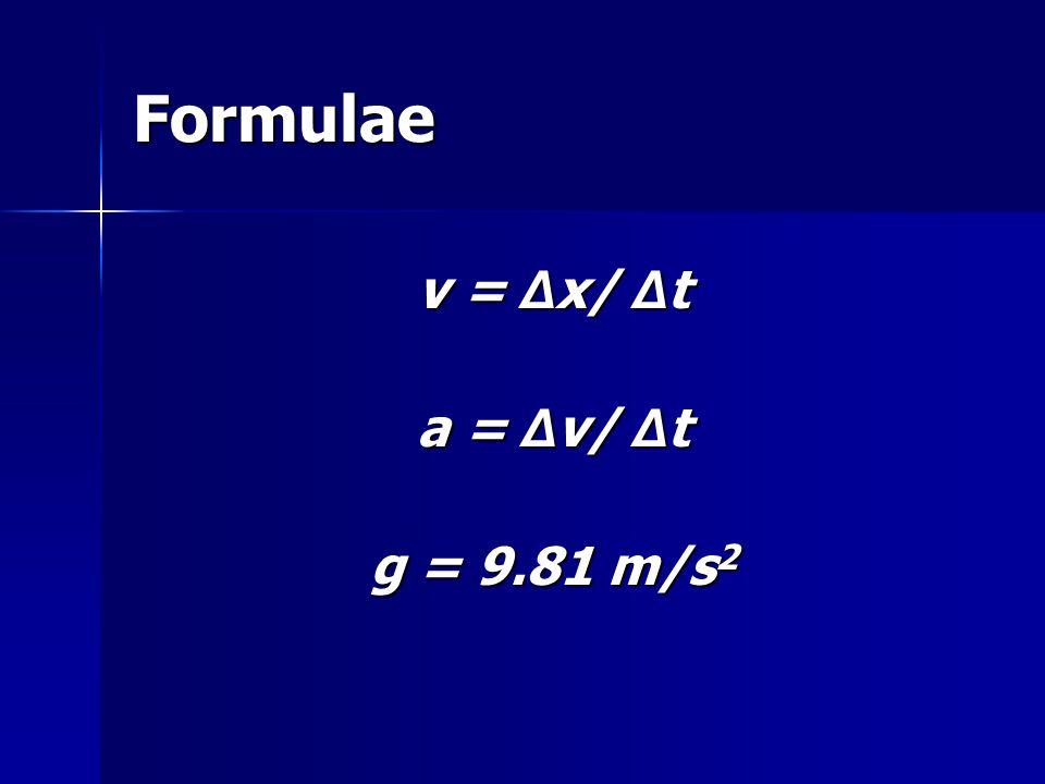 Formulae v = Δ x/ Δ t a = Δ v/ Δ t g = 9.81 m/s 2