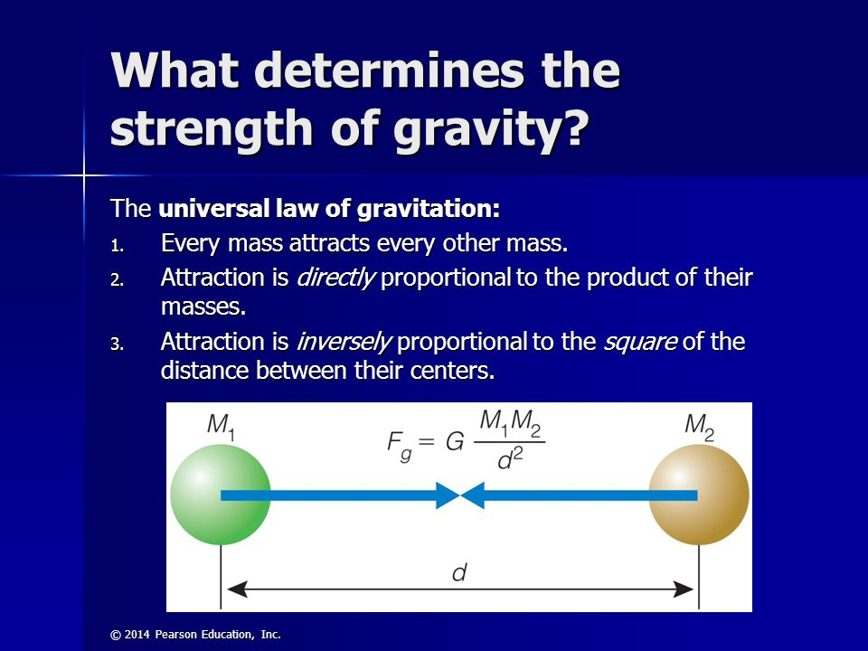 © 2014 Pearson Education, Inc. What determines the strength of gravity? The universal law of gravitation: 1. Every mass attracts every other mass. 2.