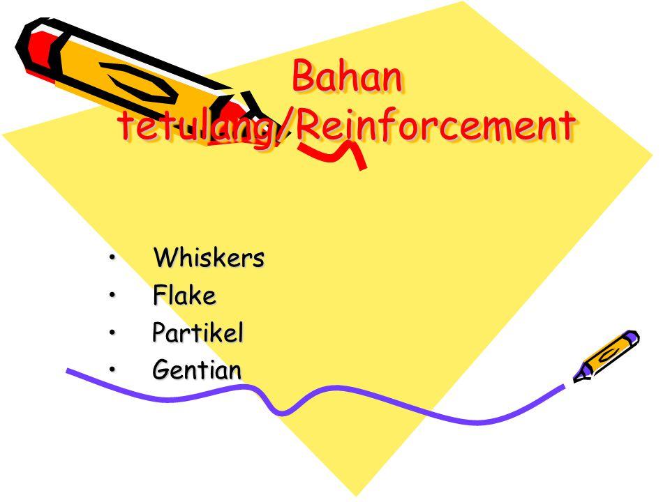 Bahan tetulang/Reinforcement WhiskersWhiskers FlakeFlake PartikelPartikel GentianGentian