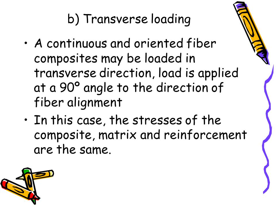 b) Transverse loading A continuous and oriented fiber composites may be loaded in transverse direction, load is applied at a 90º angle to the directio
