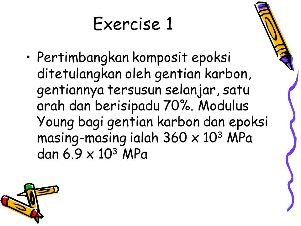 Exercise 1 Pertimbangkan komposit epoksi ditetulangkan oleh gentian karbon, gentiannya tersusun selanjar, satu arah dan berisipadu 70%. Modulus Young
