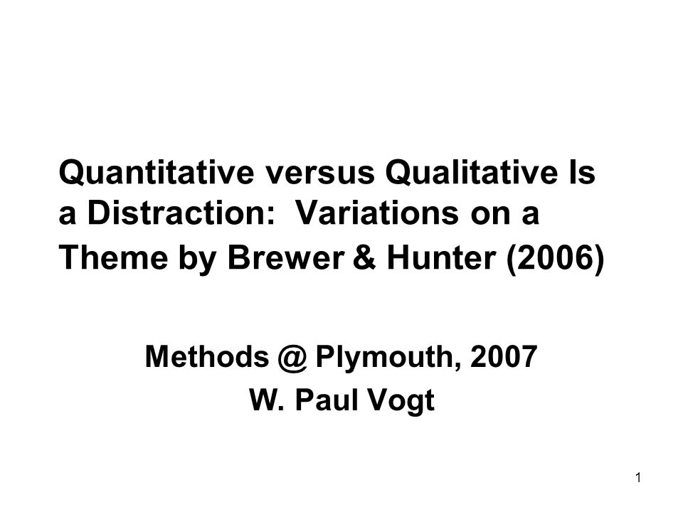 2 The Theme Focusing on the distinction between quantitative and qualitative, and on methods of mixing them, ignores a wider range of methodological problems and opportunities to solve them.