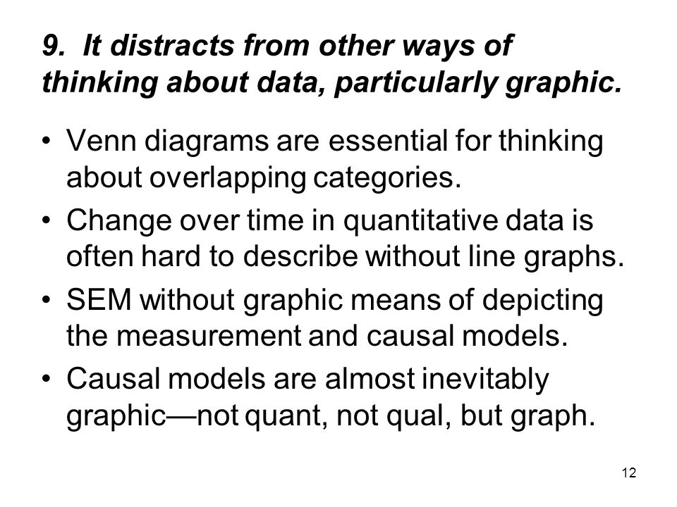 12 9. It distracts from other ways of thinking about data, particularly graphic. Venn diagrams are essential for thinking about overlapping categories