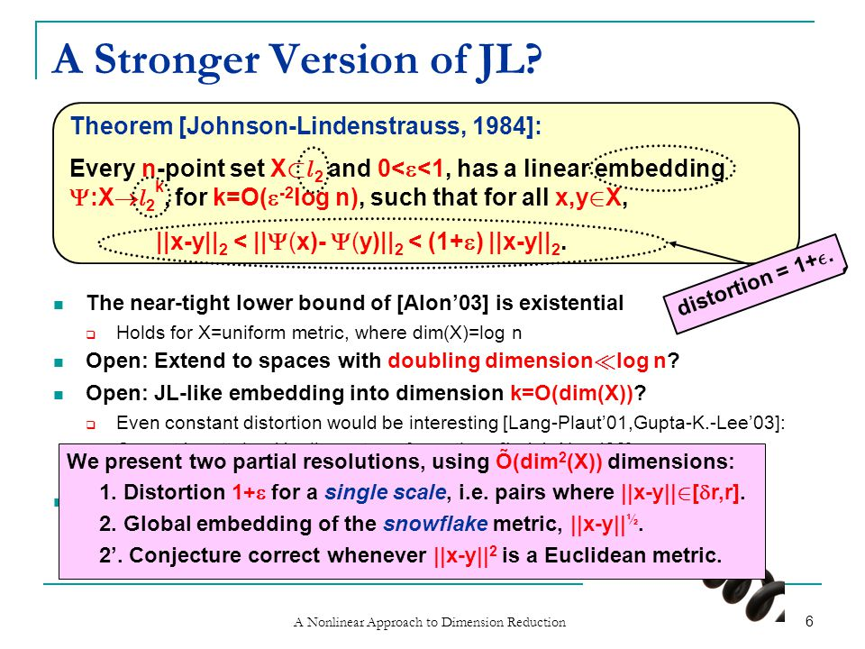 A Nonlinear Approach to Dimension Reduction 6 A Stronger Version of JL.