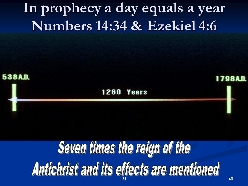40BT In prophecy a day equals a year Numbers 14:34 & Ezekiel 4:6