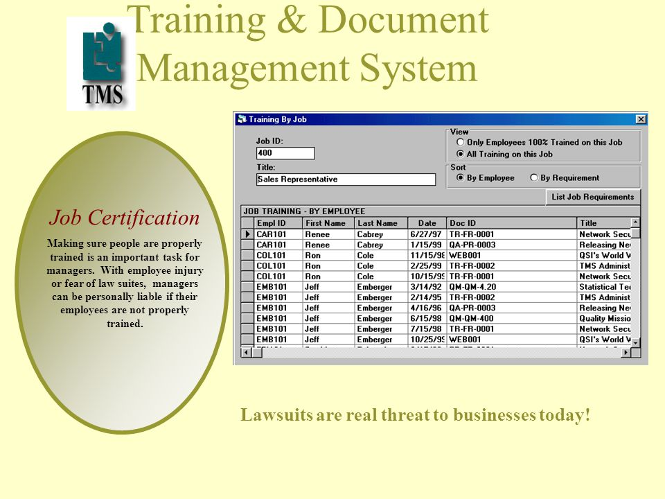 Training & Document Management System Job Certification Making sure people are properly trained is an important task for managers.