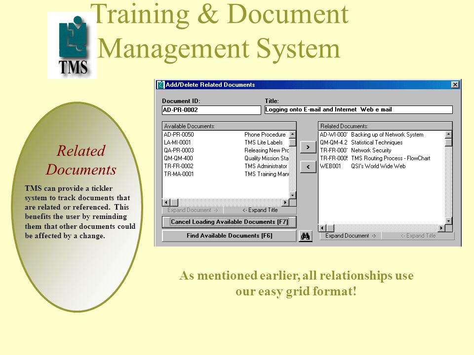 Training & Document Management System Related Documents TMS can provide a tickler system to track documents that are related or referenced.