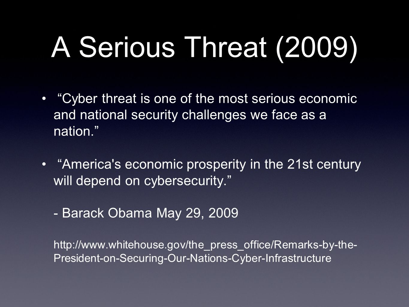A Serious Threat (2012) 621 confirmed breaches 44 million records compromised State-affiliated actors tied to China (accounted) for about one-fifth (125) of all breaches. Source - Verizon