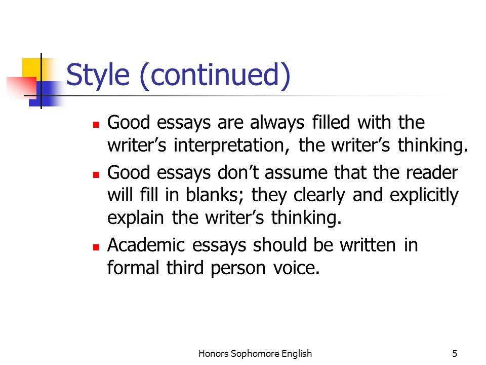 Honors Sophomore English5 Style (continued) Good essays are always filled with the writer's interpretation, the writer's thinking.