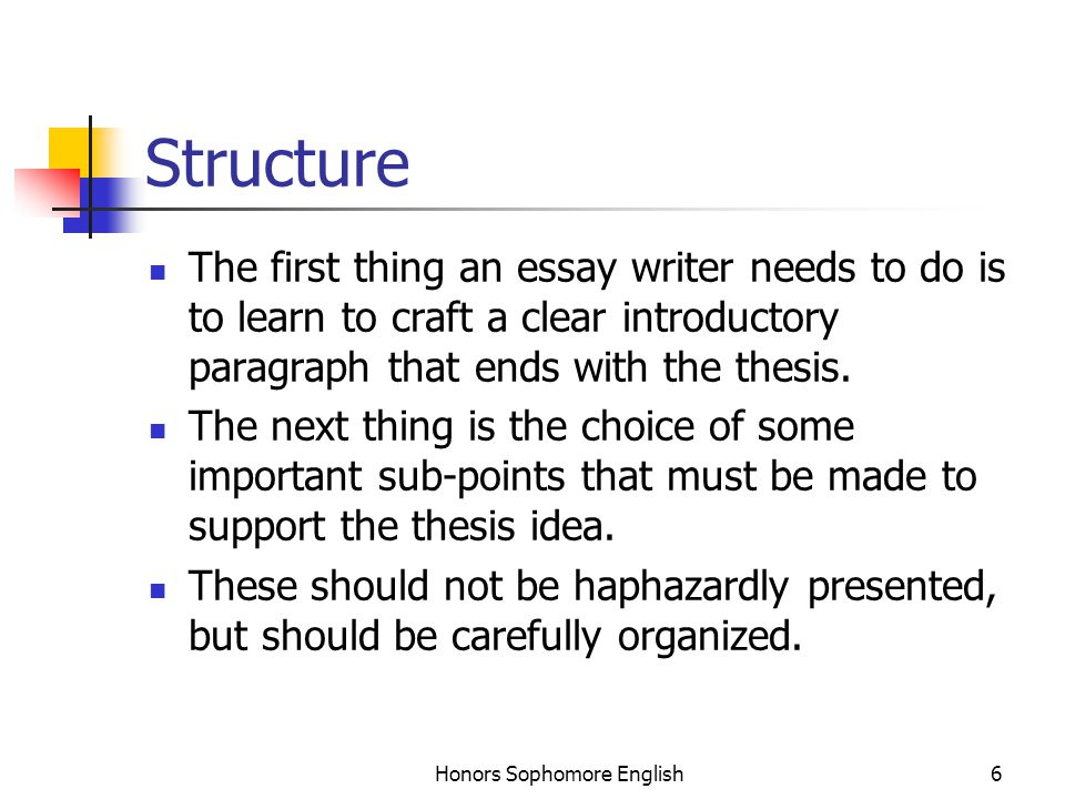 Honors Sophomore English6 Structure The first thing an essay writer needs to do is to learn to craft a clear introductory paragraph that ends with the thesis.