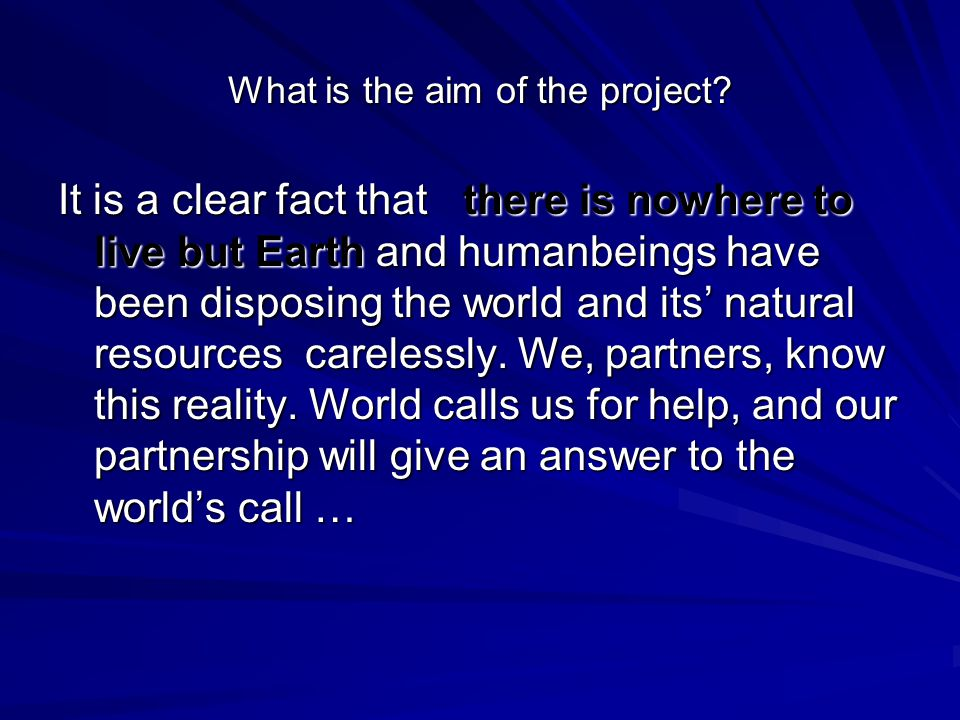 What is the aim of the project.