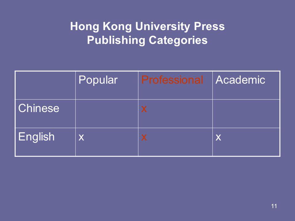 11 Hong Kong University Press Publishing Categories PopularProfessionalAcademic Chinesex Englishxxx