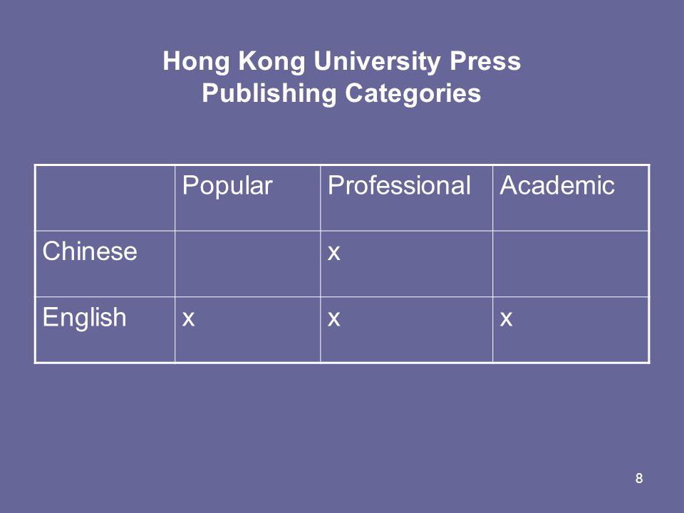 8 Hong Kong University Press Publishing Categories PopularProfessionalAcademic Chinesex Englishxxx