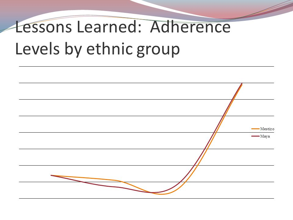 Lessons Learned: Adherence Levels by ethnic group