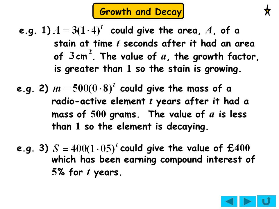 Growth and Decay e.g.