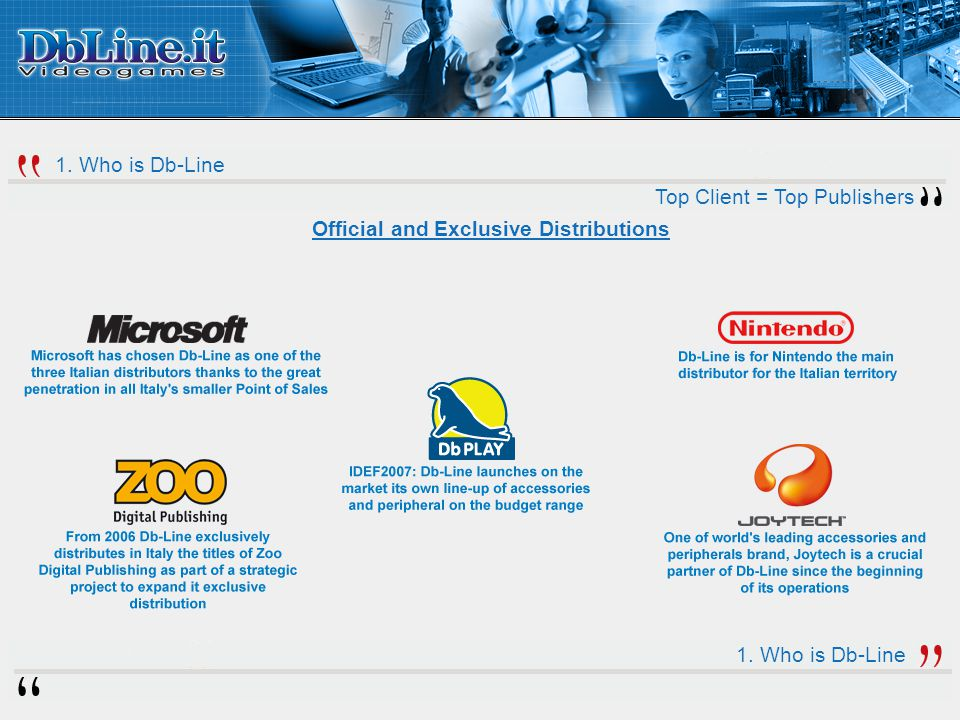 Top Client = Top Publishers Official and Exclusive Distributions 1. Who is Db-Line