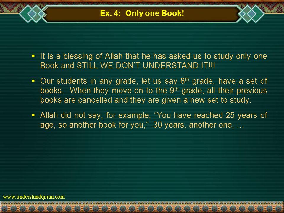 www.understandquran.com Ex. 4: Only one Book.