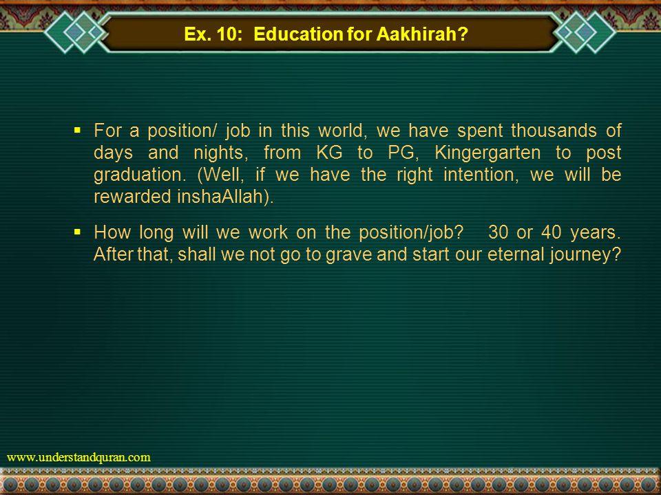 www.understandquran.com Ex. 10: Education for Aakhirah.