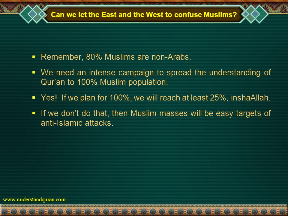 www.understandquran.com Can we let the East and the West to confuse Muslims.