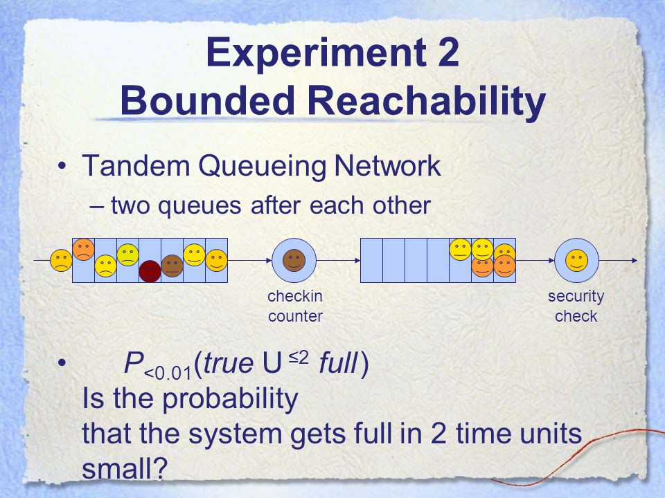 Experiment 2 Bounded Reachability Tandem Queueing Network –two queues after each other P <0.01 (true U ≤2 full ) Is the probability that the system gets full in 2 time units small.
