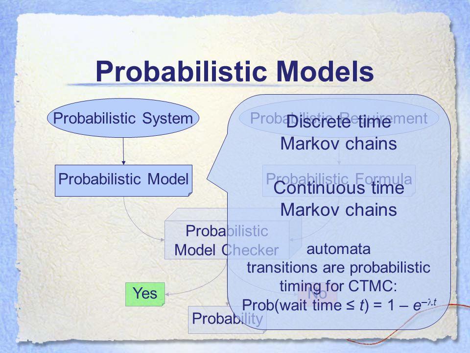 Probabilistic Model Checker Probabilistic Models Probabilistic SystemProbabilistic Requirement Probabilistic ModelProbabilistic Formula YesNo Probability Discrete time Markov chains Continuous time Markov chains automata transitions are probabilistic timing for CTMC: Prob(wait time ≤ t) = 1 – e – t