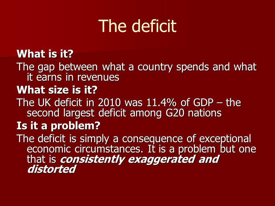 The deficit What is it? The gap between what a country spends and what it earns in revenues What size is it? The UK deficit in 2010 was 11.4% of GDP –