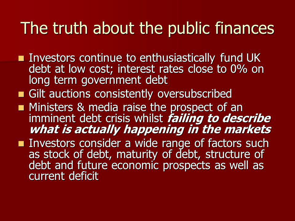 The truth about the public finances Investors continue to enthusiastically fund UK debt at low cost; interest rates close to 0% on long term governmen